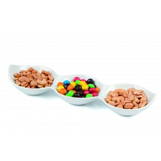 Snackschaal porselein 3 vaks 28 x 8,5 x 3 cm