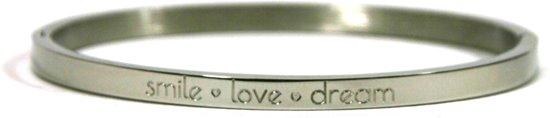 Chique - stalen bangle - smalle 4mm bangle RVS - smile love dream - 60 mm