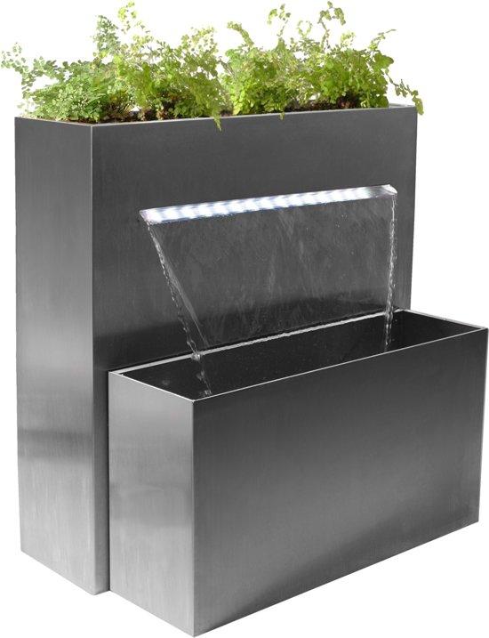 Fontein Met Plantenbak.Grote Rechthoekige Rvs Plantenbak En Waterval Met Led Verlichting H89cm