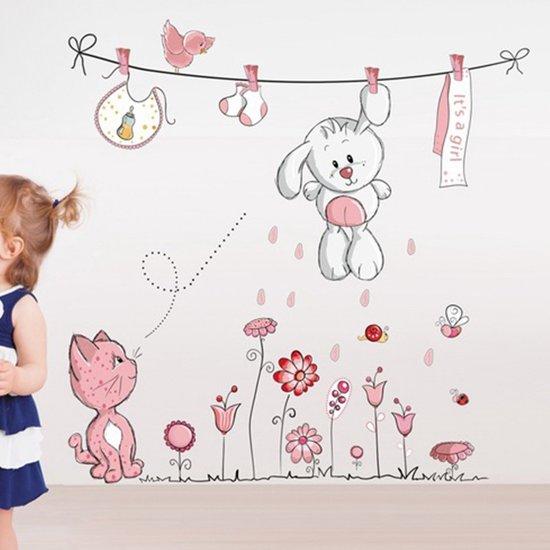 Muurdecoratie Babykamer Meisje.Bol Com Muursticker Kinderkamer Meisjes Konijn Aan Waslijn