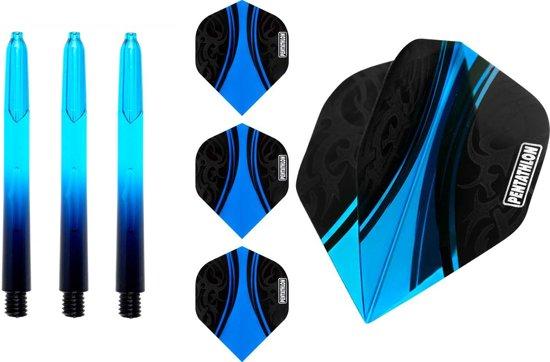 abcdarts pentathlon 3 sets flights en 3 sets 48mm vision shafts - blauw
