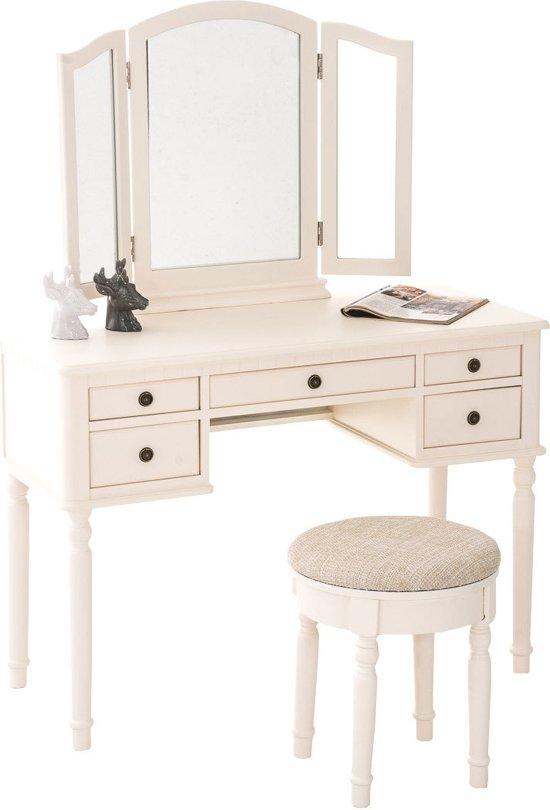 Clp XXL Make-uptafel MADELEINE, kaptafel ca. 110 x 50 cm, 3 spiegels, met gewatteerde kruk - romantisch design - creme