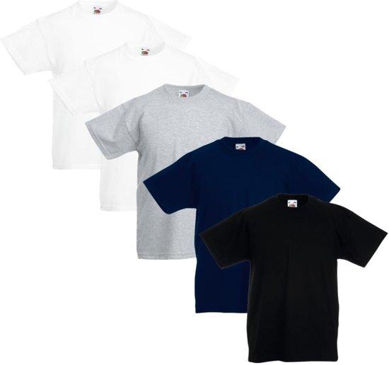5x Fruit of the Loom Original Kids T-shirt multi-kleur maat 140
