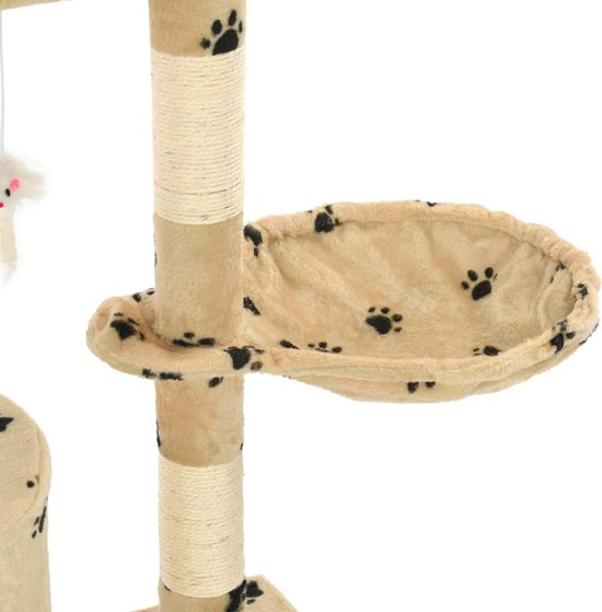 vidaXL Kattenkrabpaal met sisal krabpalen 138 cm pootafdrukken beige
