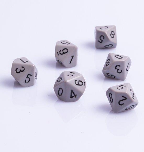 Afbeelding van het spel 10 Vlakken Tienzijdige Dobbelstenen Grijs met Zwart 16mm Set van 6 Stuks