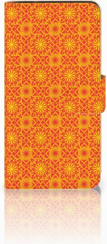 Samsung Galaxy J2 2016 Bookcase hoesje Design Batik Orange