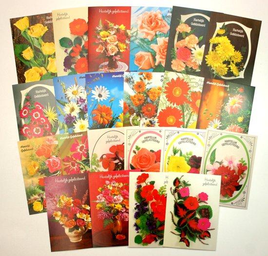 50 Ansichtkaarten – Bloemen assorti – Hartelijk Gefeliciteerd