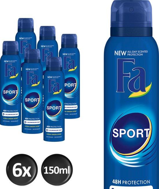 Fa Men Deospray Sport - 6 x 150ml - Voordeelverpakking