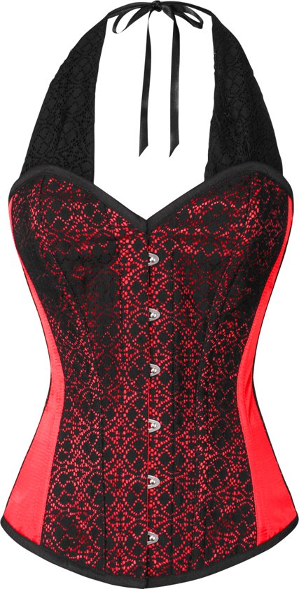 bb51f8622d Halter corset met stalen baleinen-rood zwart- maar XL