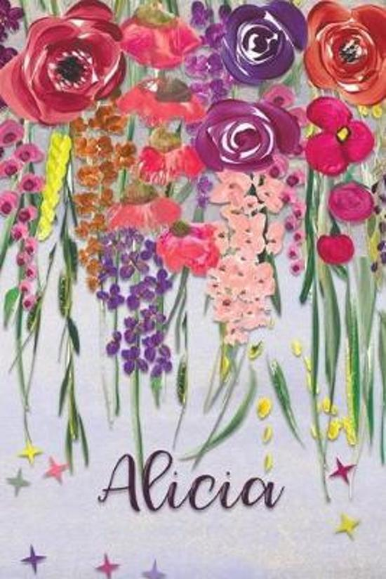 Alicia: Personalized Lined Journal - Colorful Floral Waterfall (Customized Name Gifts)
