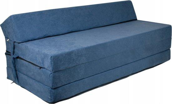 Extra breed logeermatras - navy blauw - camping matras - reismatras - opvouwbaar matras - 200 x 120 x 10 - met hoofdkussen