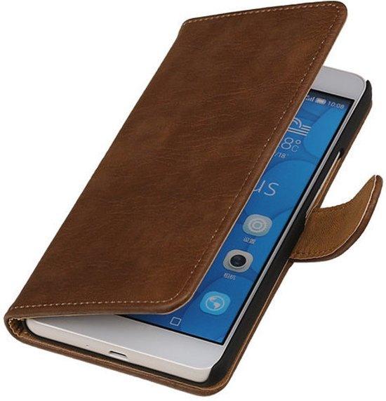 MiniPrijzen -  booktype - bookstyle - Wallet Case - Flip Cover - Book Case Bescherm Hoes Bruin hout design Sony Xperia C4 Telefoonhoesje - Smartphone hoesje in De Krosselt / Krosselt