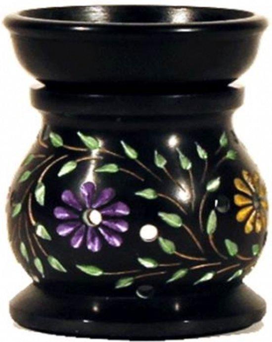Oliebrander Bloem zwart zeepsteen
