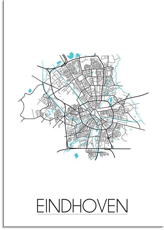 Plattegrond Eindhoven Stadskaart poster DesignClaud - Wit - A3 poster
