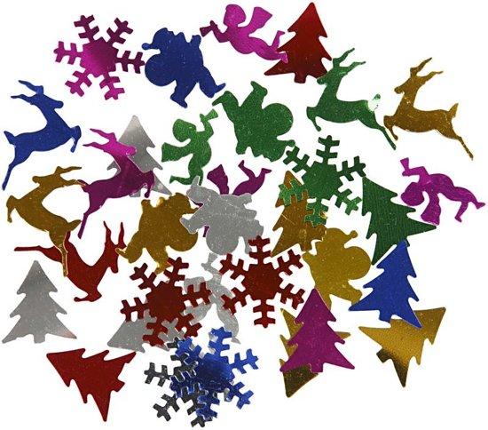 Pailletten, afm 15 mm, metallic kleuren, Kerst, 10gr
