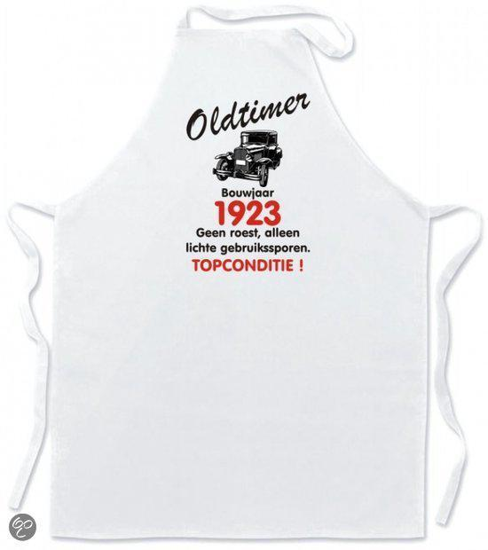 Mijncadeautje Schort Keukenschort - Oldtimer Bouwjaar (geboortejaar) 1923