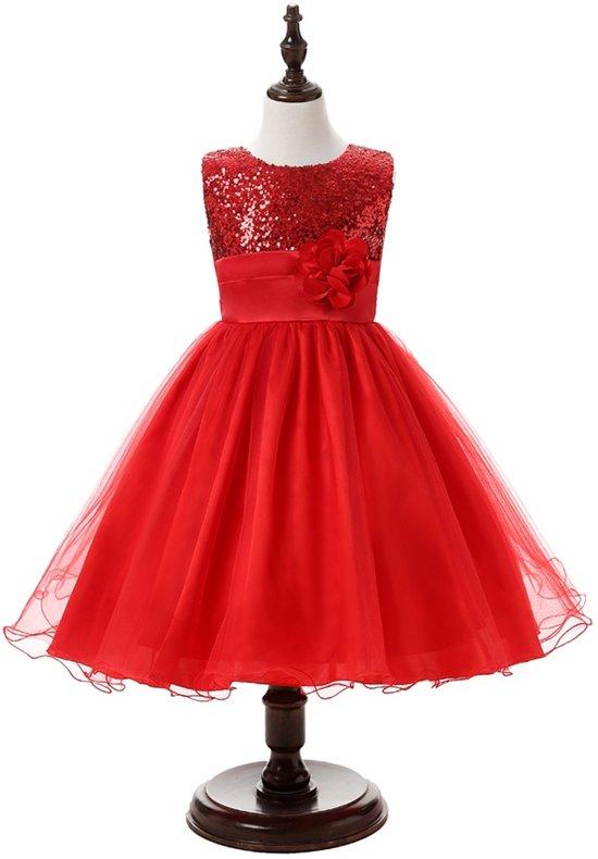 Feest jurk met strik, bloem, pailletten rood 110/116