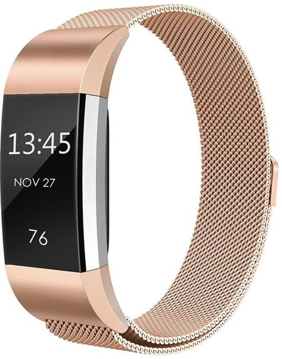 Fitbit charge 2 bandje (Large) van By Qubix - Champagne goud - RVS Milanese bandje - Geschikt voor de activity tracker - Lengte: 14CM / 24CM - Fitbit bandje - Hoge kwaliteit!
