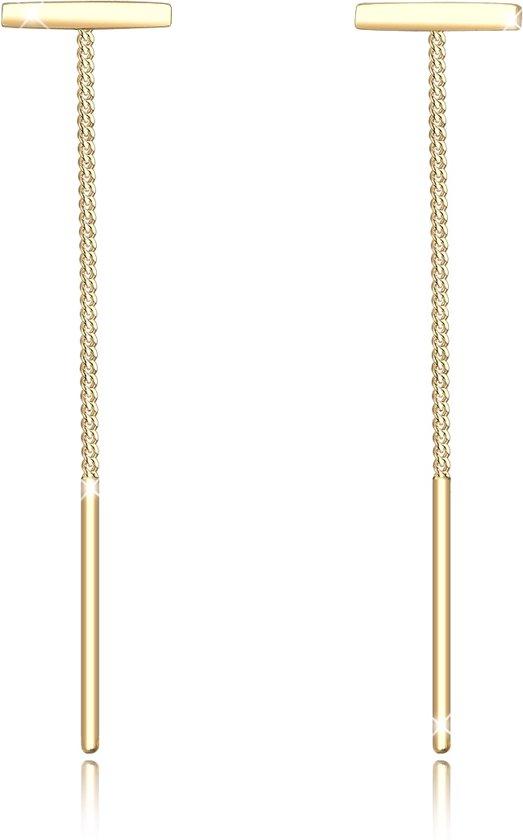 Elli Oorbellen Bar Drop Minimaal Basic Trend 925 Zilver Verguld