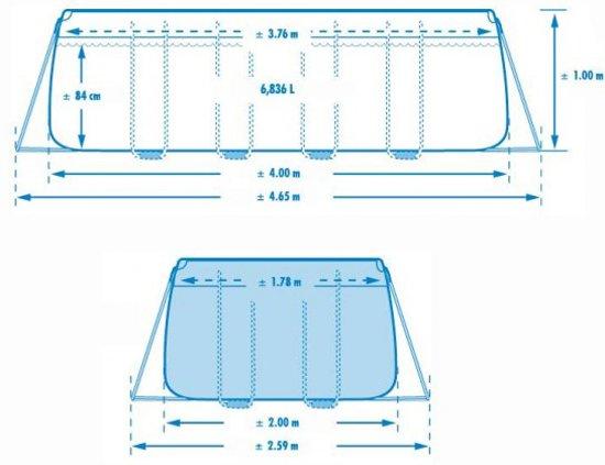 Intex Rectangular Ultra Framepool 400X200X100 CM Hoog