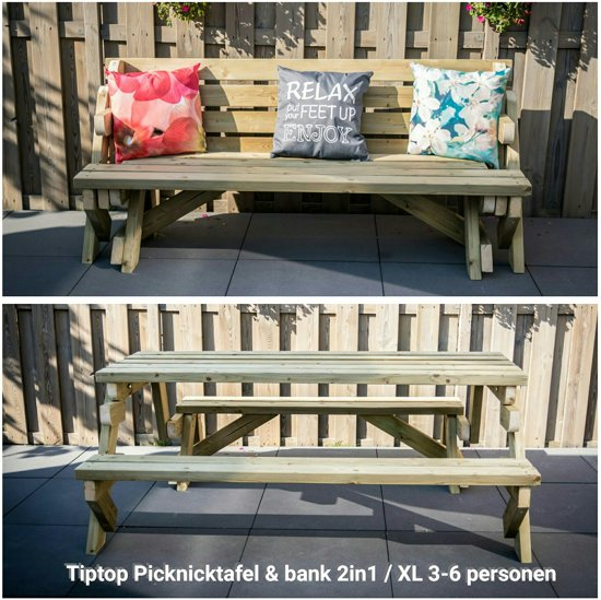 Picknicktafel & tuinbank 2in1 XL - 3 tot 6 personen