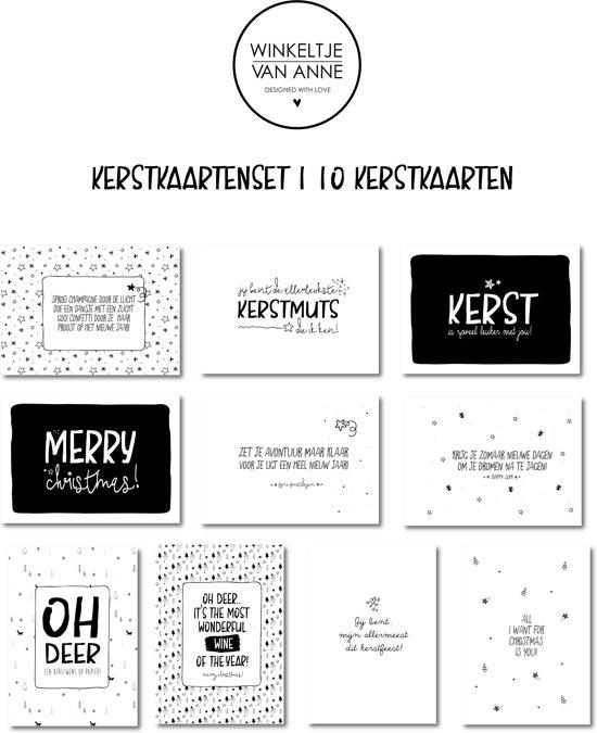 Kerstkaarten | Kaartenset 10 stuks | Zwart wit | winkeltjevananne.nl