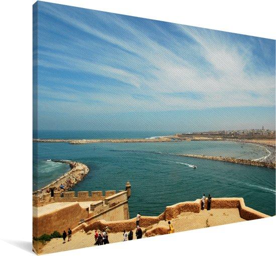 Blauwe lucht boven Rabat in Marokko Canvas 120x80 cm - Foto print op Canvas schilderij (Wanddecoratie woonkamer / slaapkamer)
