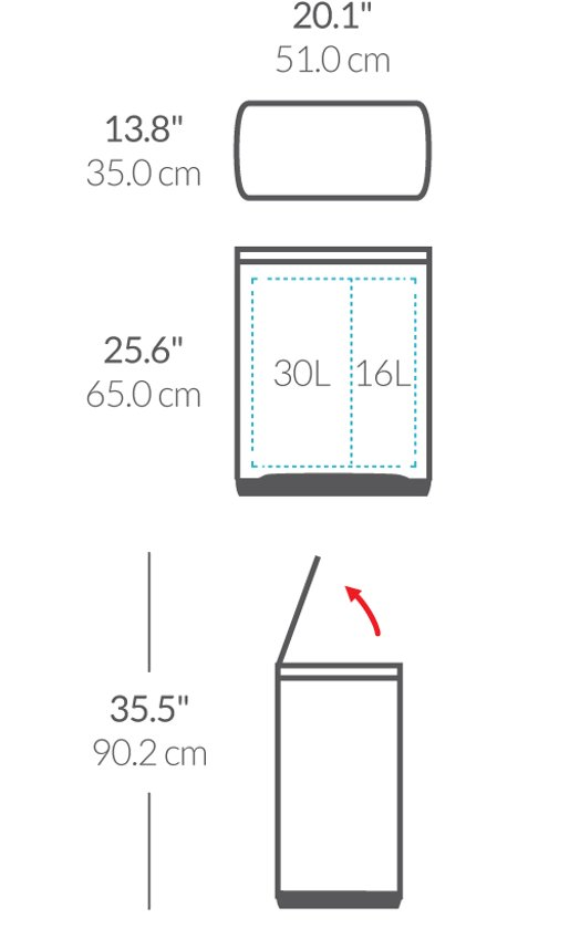 Simplehuman Rectangular Classic GFT 30 + 16 Liter