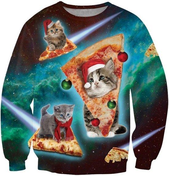 Kat, pizza en kerst trui ! Maat XL