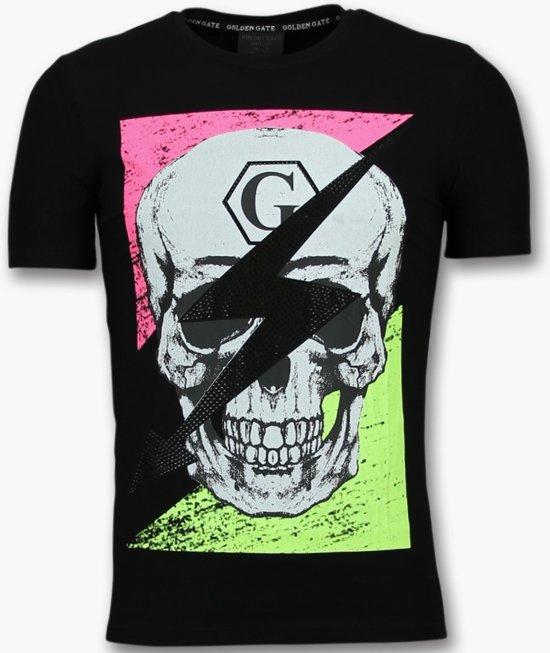 MannenGlitter Doodshoofd Gate Heren Shirt MatenXs Zwart Golden T 8w0PmOyvNn