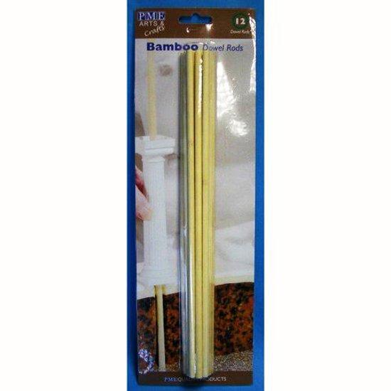taart stutten bol.| Dowels / dowel rods   set van 12   bamboe   PME Arts&Crafts taart stutten