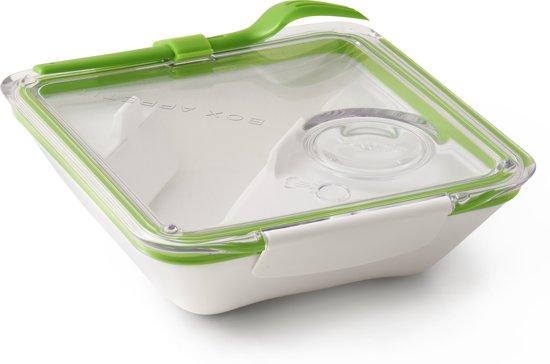 Handig Cadeau   lunchbox vierkant wit - lime groen