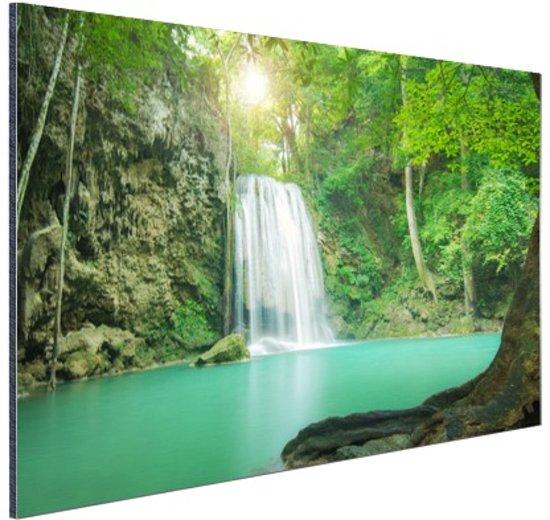 Erawan jungle waterval Aluminium 60x40 cm - Foto print op Aluminium (metaal wanddecoratie)