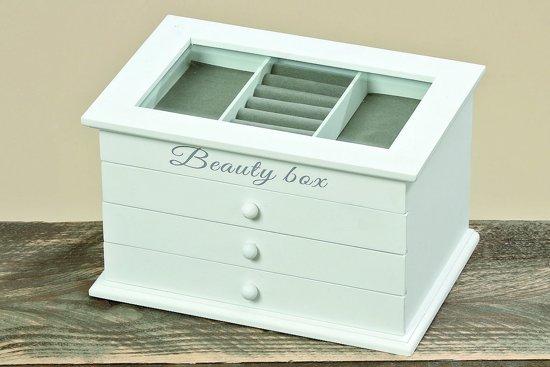 Juwelen box - \Opbergdoos - Juwelen - Wit - Glas - 25 cm - Hout