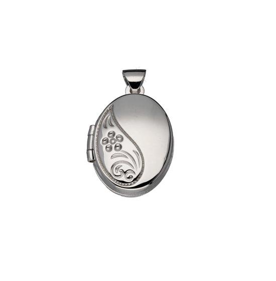 Classics&More medaillon - zilver - 19 x 14 mm - ovaal - bewerkt - gerodineerd