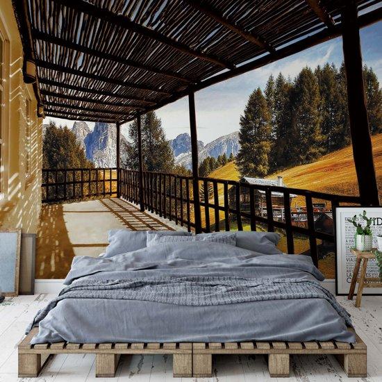 Fotobehang Mountain Terrace View   VEXXXL - 416cm x 254cm   130gr/m2 Vlies