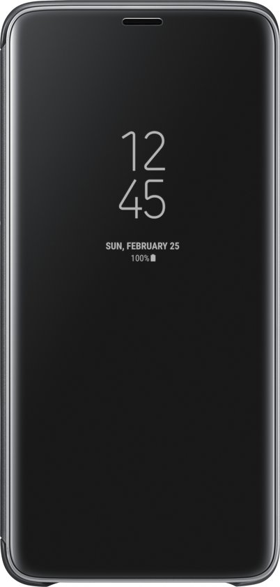 Samsung S9+ Clear View Standing Cover - Zwart