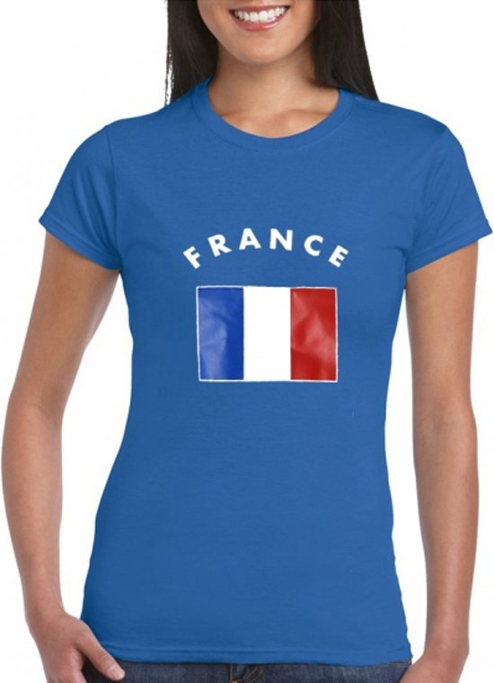 Blauw dames t-shirt vlag France M