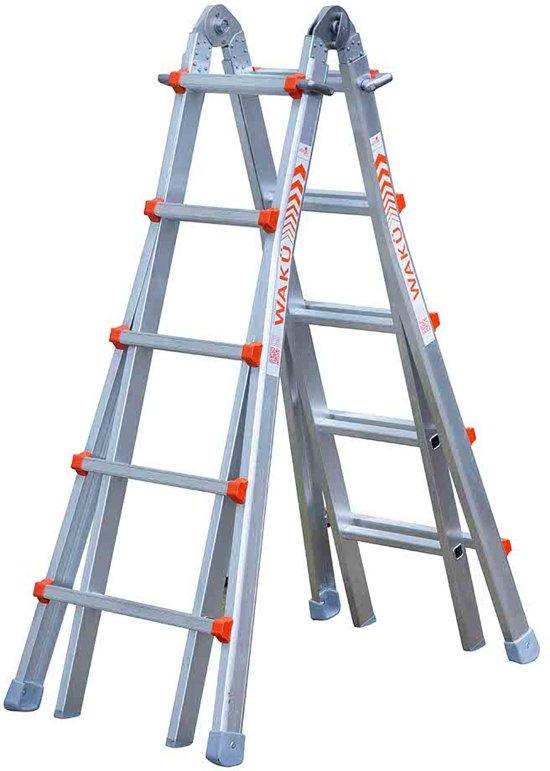 Waku Ladders Telescopische ladder - 4x5 sporten - Aluminium