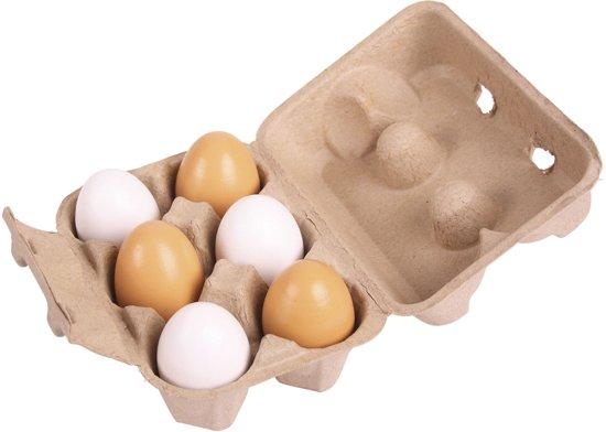 Bigjigs Kartonnen Doosje met Houten Eieren ei hout