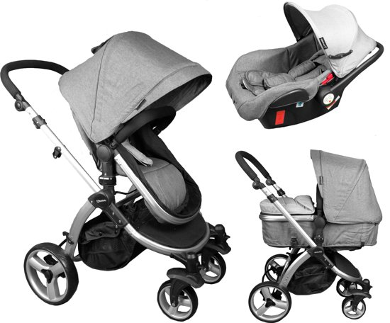 beebaby 3 in 1 kinderwagen incl autostoeltje grijs. Black Bedroom Furniture Sets. Home Design Ideas