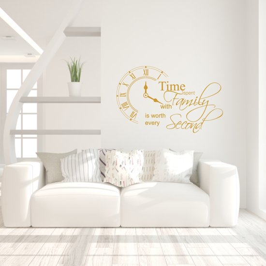 Muursticker Time Spent With Family Is Worth Every Second -  Goud -  100 x 160 cm  - Muursticker4Sale