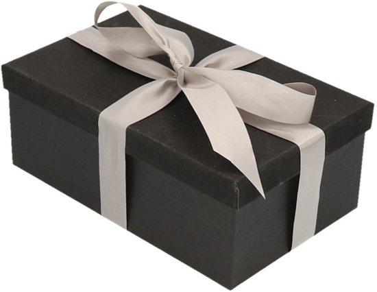 Cadeau gift box set - zwart glitter cadeaudoosje 15  cm rechthoekig en zilver lint - kadodoosjes / cadeauverpakking