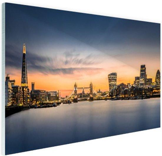 Skyline Londen zonsondergang Glas 120x80 cm - Foto print op Glas (Plexiglas wanddecoratie)