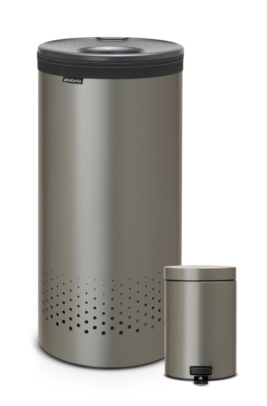 Brabantia Wasbox 50 Liter Matt Steel.Brabantia Platinum Wasbox 35 L Incl Pedaalemmertje Van 3 L