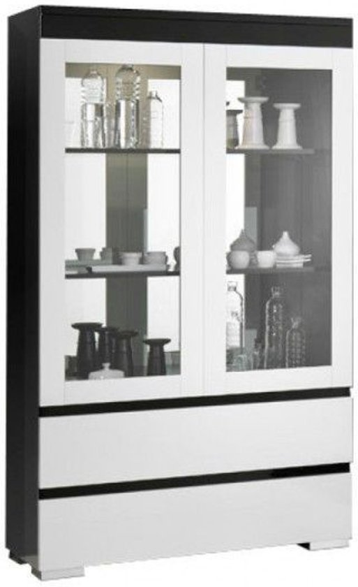 Vitrinekast Wit Met Hout.Bol Com Davidi Design Zenos Grande Vitrinekast Wit Zwart
