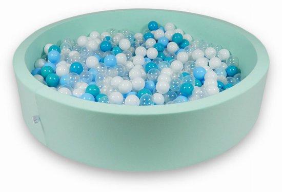 Ballenbak - 600 ballen - 130 x 30 cm - ballenbad - rond mint groen