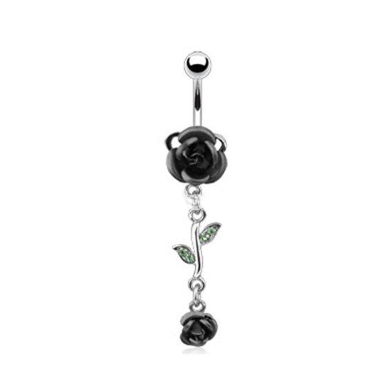 Navelpiercing dubbele roos zwart ©LMPiercings