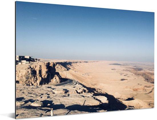 Uitzicht over de Makhtesh Ramon in Israël Aluminium 40x30 cm - klein - Foto print op Aluminium (metaal wanddecoratie)