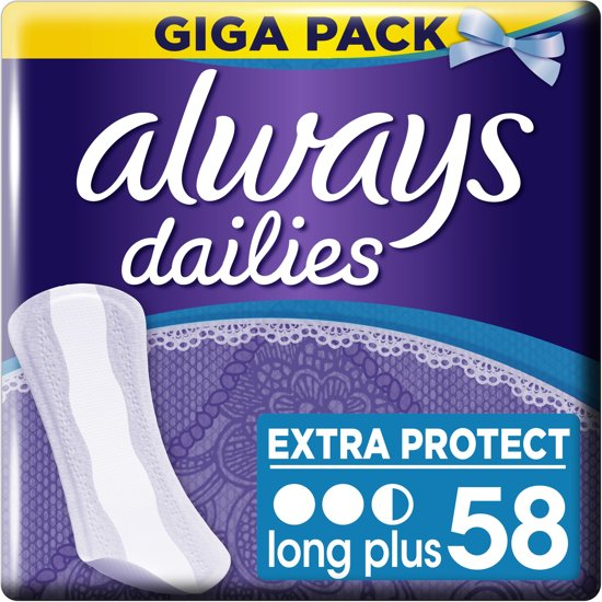 Always Dailies Extra Protect Long Plus- 58 stuks - Inlegkruisjes